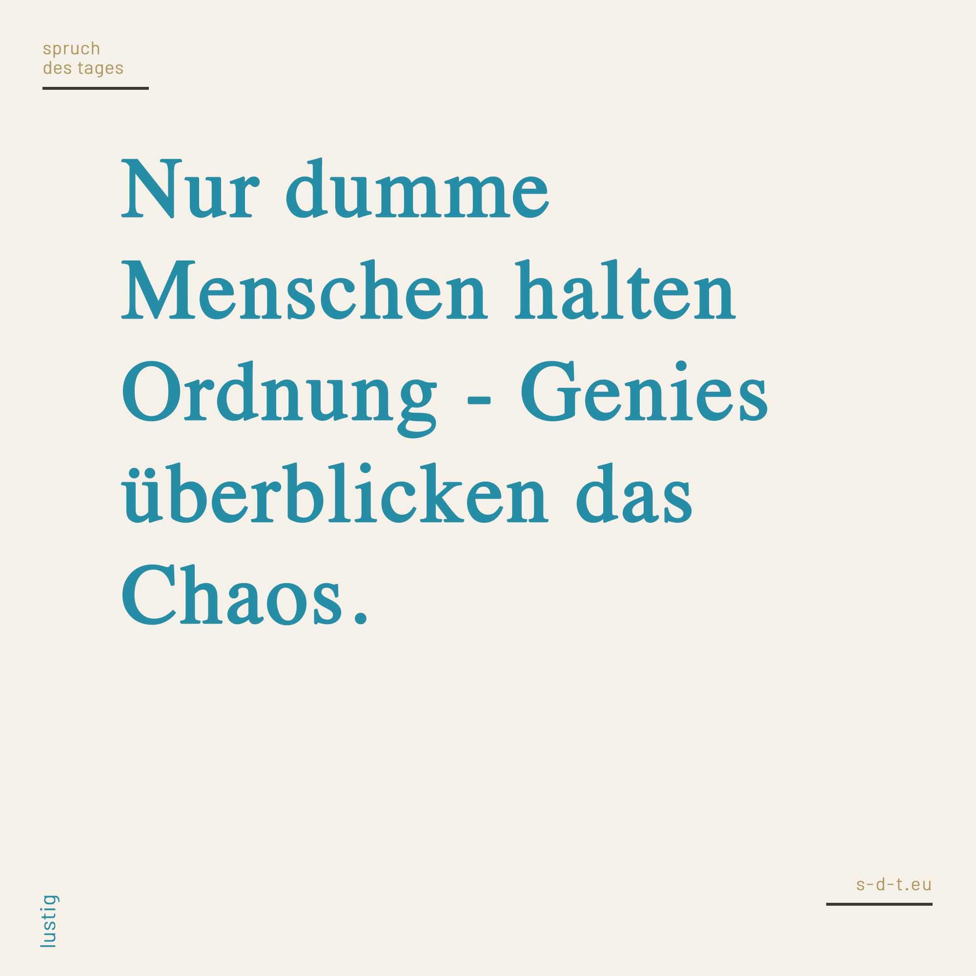 Etwas Neues genug Nur dumme Menschen halten Ordnung - Genies überblicken das Chaos #VC_16